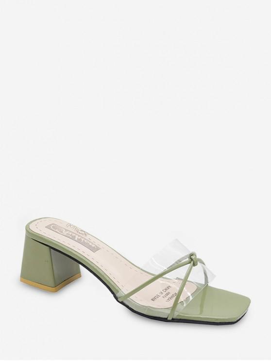 Zapatillas Brillantes Tacón Grueso - Verde Camuflaje EU 38