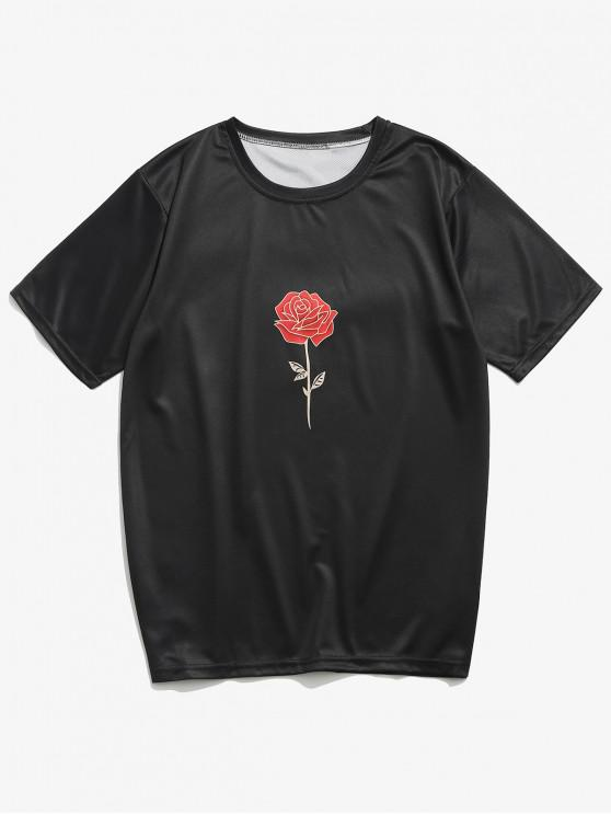 women's Flower and Letters Print Casual T-shirt - BLACK 4XL