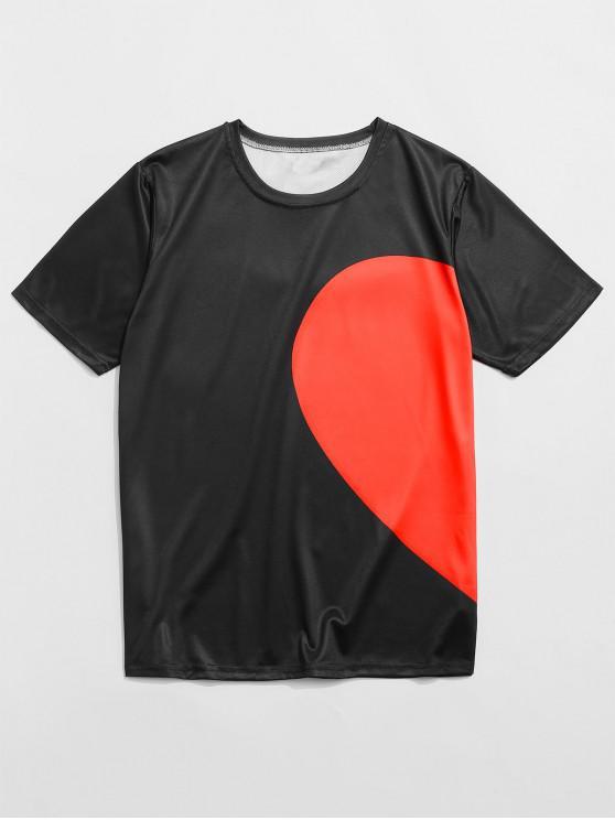 hot Half Heart Print Contrast Casual T-shirt - BLACK 4XL