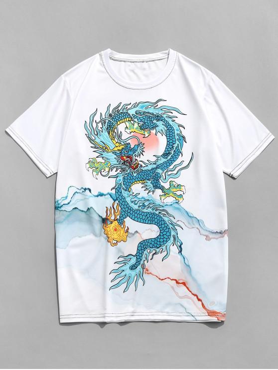 trendy Dragon and Mountains Print Short Sleeve T-shirt - WHITE 4XL