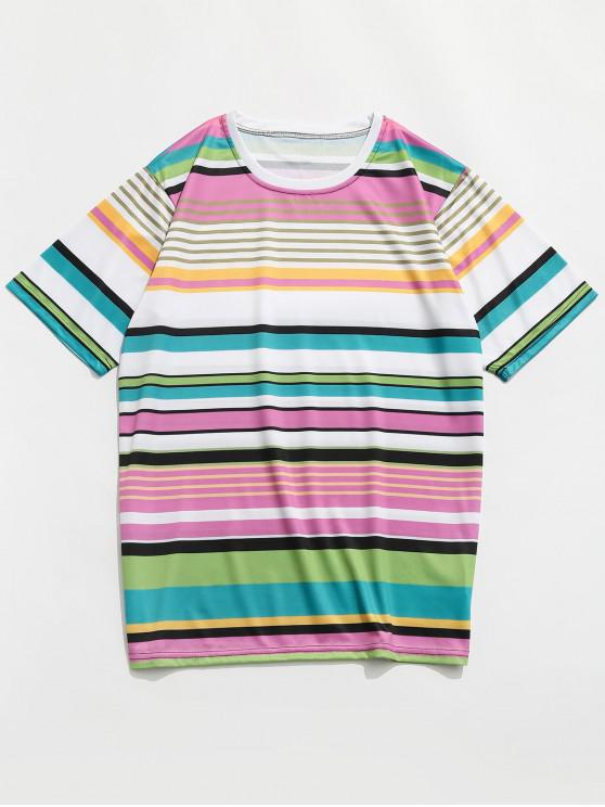 latest Colorful Striped Print Casual T Shirt - MULTI-A 4XL