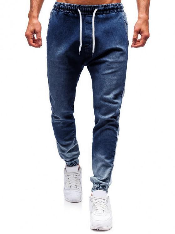 unique Color Spliced Casual Drawstring Jeans - BLUE XS