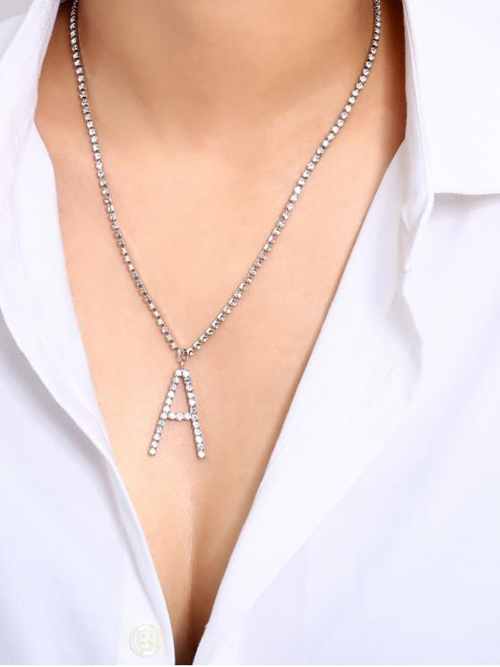 women Rhinestone Letter A Shape Pendant Necklace - SILVER