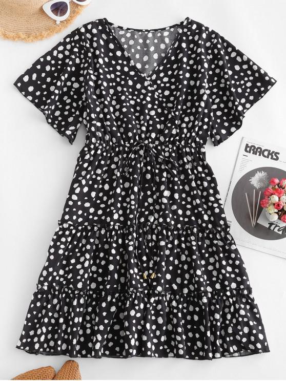 buy Dalmatian Dot Leopard Print Tied Mini Dress - BLACK XL