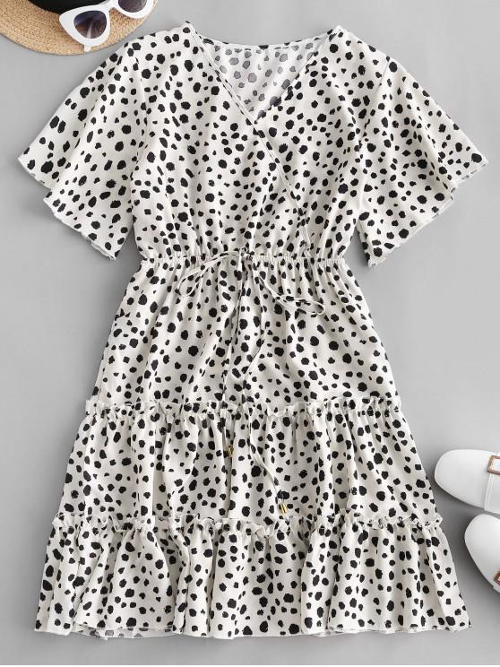 new Dalmatian Dot Leopard Print Tied Mini Dress - WHITE L