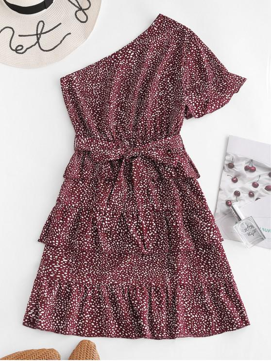 chic Dalmatian Dot One Shoulder Belted Dress - RED WINE XL