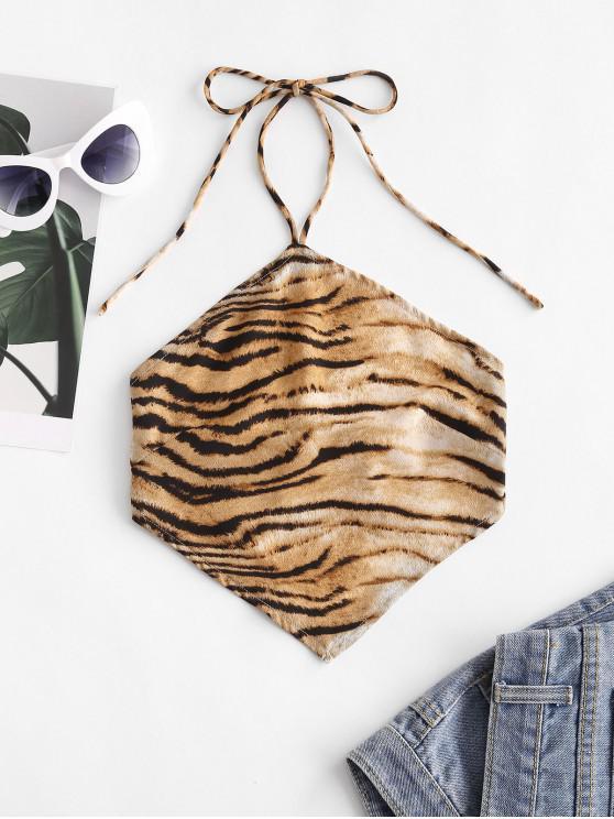 online Halter Tie Back Tiger Print Crop Top - MULTI M