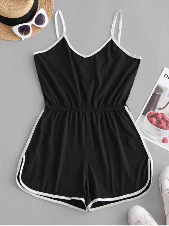 outfits Spaghetti Strap Dolphin Romper - BLACK S