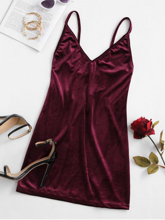 womens Cami Strappy Back Velvet Mini Dress - RED WINE M