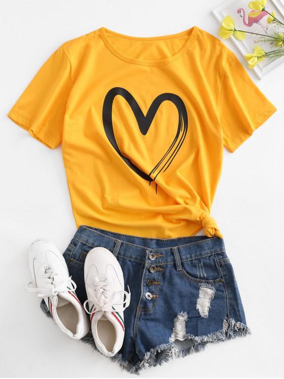 Maneca scurta Heart Graphic Basic Tee - Galben M