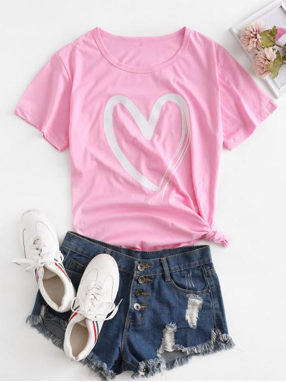 best Short Sleeve Heart Graphic Basic Tee - PINK L