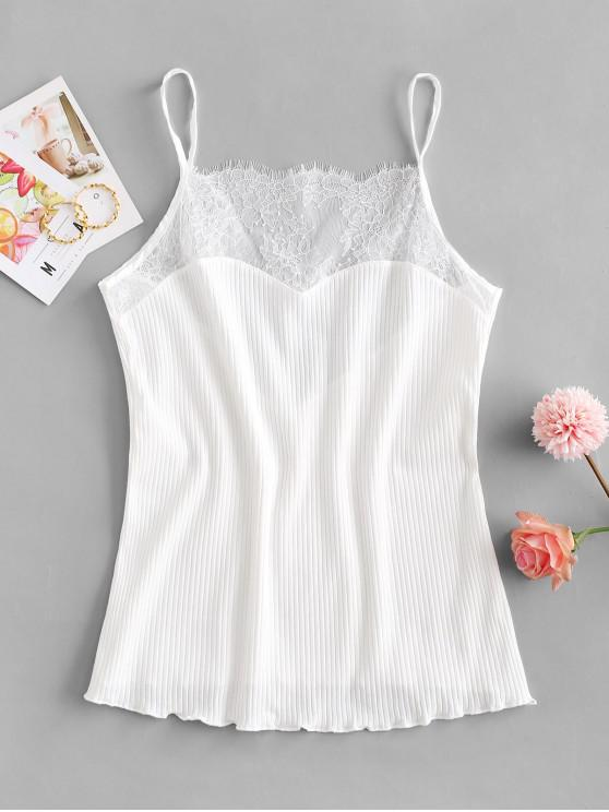 shop Ribbed Eyelash Lace Panel Cami Top - WHITE ONE SIZE