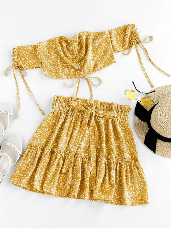 fashion ZAFUL Ditsy Print Cinched Smocked Off Shoulder Frilled Skirt Set - GOLDENROD S