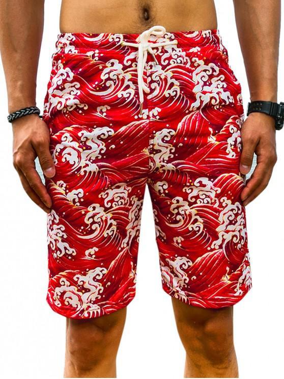Ocean Wave Printed Board Shorts - أحمر XS