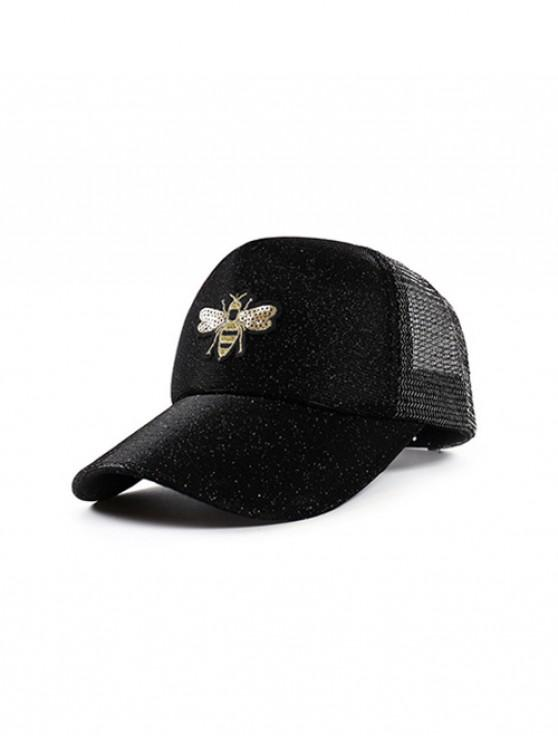 affordable Bee Embroidery Sequined Embellish Trucker Hat - BLACK