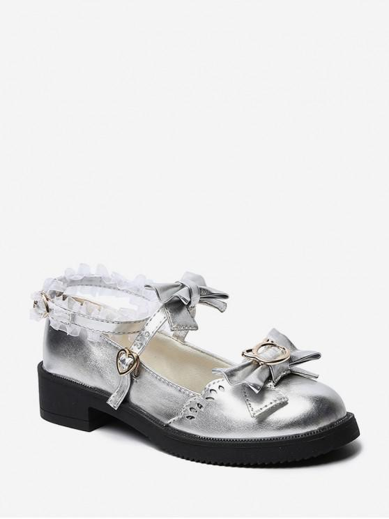 hot Bowknot Leather Low Heel Lolita Shoes - SILVER EU 39