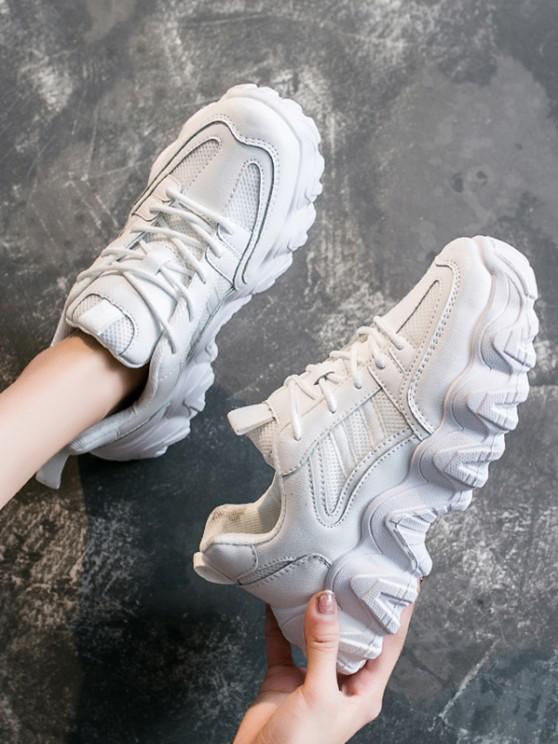 unique Casual Breathable Mesh Platform Sneakers - WHITE EU 38