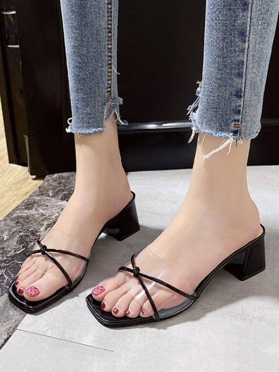 buy Clear Vamp Block Heel Slides - BLACK EU 40