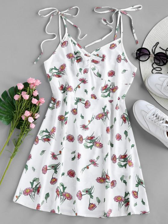sale ZAFUL Floral Tie Shoulder Cami Summer Dress - WHITE S