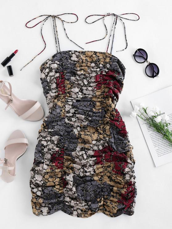 ZAFUL Floral Print ruched Mini Dress - Multi M