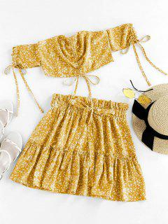 ZAFUL Ditsy Print Cinched Smocked Off Shoulder Frilled Skirt Set - Goldenrod S