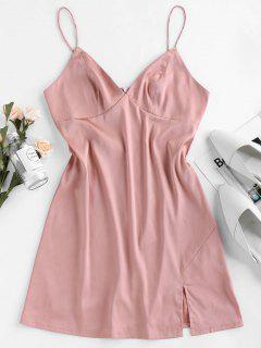ZAFUL Mini Robe Fendue En Satin à Bretelle - Rose L