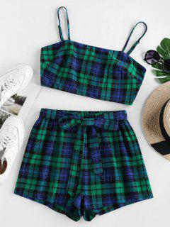 ZAFUL Belted Plaid Two Piece Set - Greenish Blue S