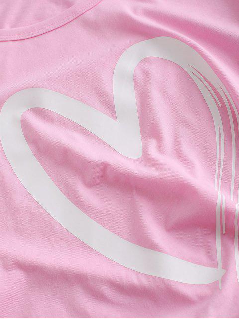 T-shirt de Base Graphique Cœur à Manches Courtes - Rose  S Mobile