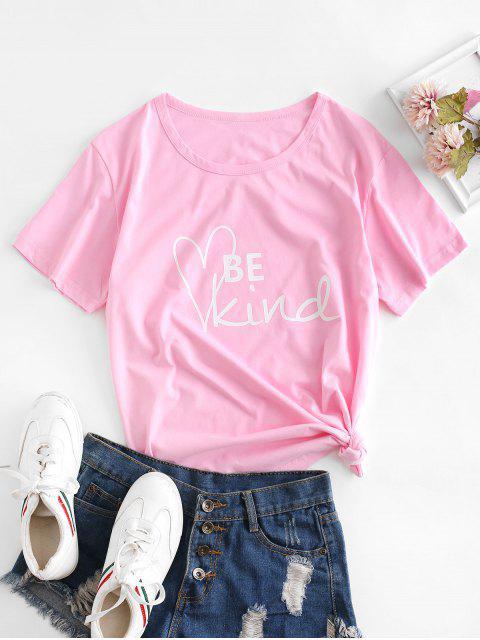 T-shirt Graphique de Base Slogan en Coton - Rose  2XL Mobile