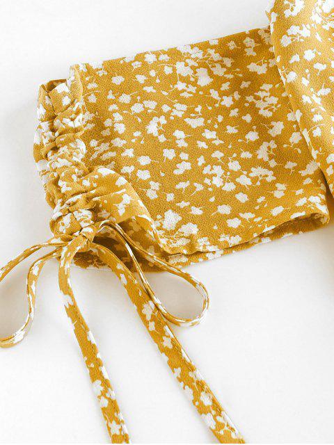 fashion ZAFUL Ditsy Print Cinched Smocked Off Shoulder Frilled Skirt Set - GOLDENROD S Mobile