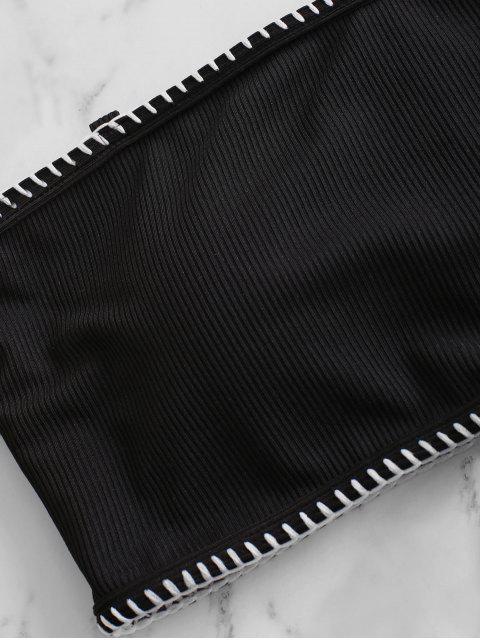 ZAFUL Maillot de Bain Bikini Côtelé à Coupe Haute à Lacets - Noir L Mobile