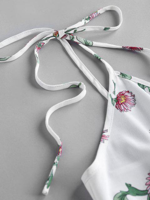 ZAFUL Robe d'Eté Fleurie à Epaule Nouée à Bretelle - Blanc L Mobile