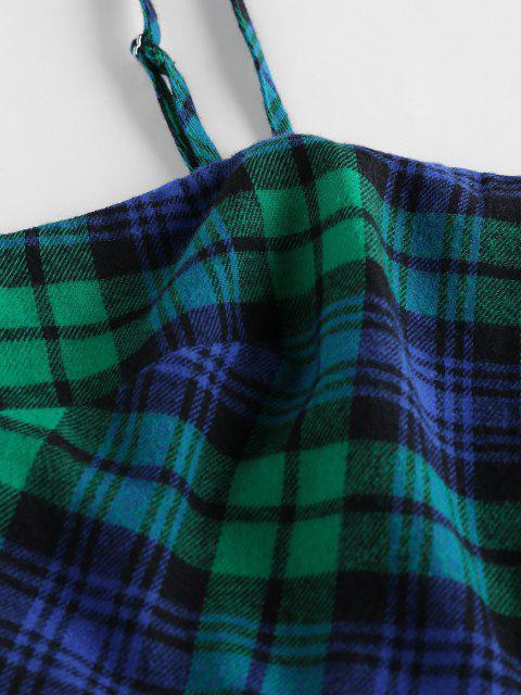 ZAFUL Conjunto de Dos Piezas a Cuadros con Cinturón - Azul Verdoso S Mobile
