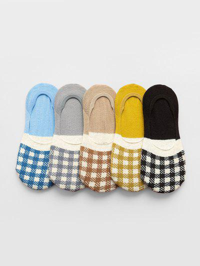 5Pairs Plaid Invisible Socks Set