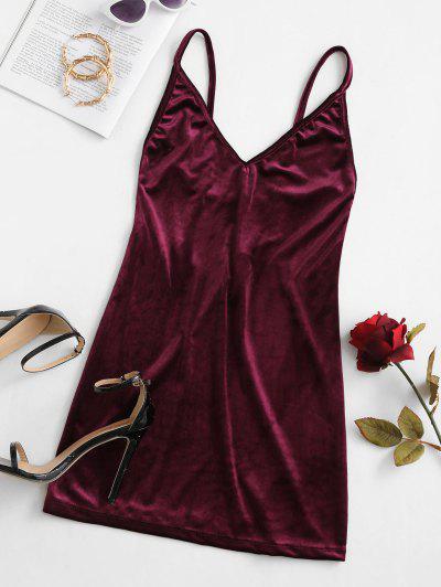 Cami Strappy Back Velvet Mini Dress - Red Wine M