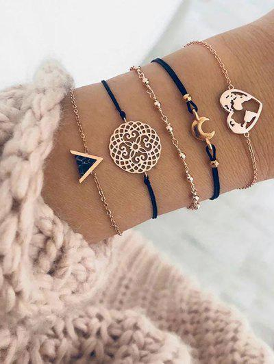 Map Heart Crescent Geometric Shape Bracelets Set - Gold