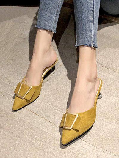 Geo Buckle Pointed Toe Half Loafer Pumps - Bee Yellow Eu 40
