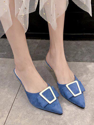 Geo Buckle Pointed Toe Half Loafer Pumps - Silk Blue Eu 38