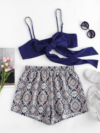 ZAFUL Tie Front Tribal Print Two Piece Set - Cadetblue S