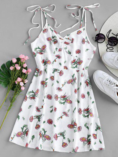 ZAFUL Floral Tie Shoulder Cami Summer Dress - White Xl