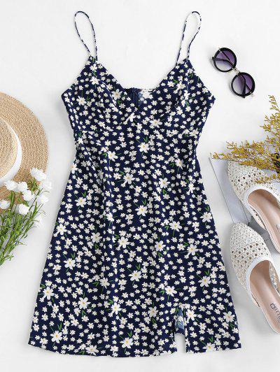 ZAFUL Slit Ditsy Print Mini Dress - Deep Blue S