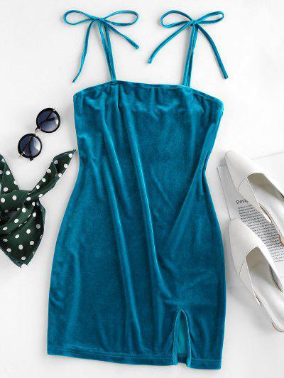 ZAFUL Velvet Tie Shoulder Slit Bodycon Dress - Peacock Blue L