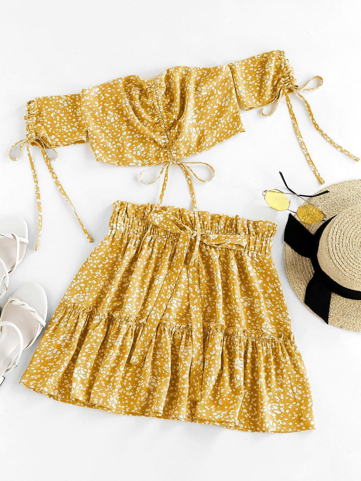ZAFUL Ditsy Print Cinched Smocked Off Shoulder Frilled Skirt Set