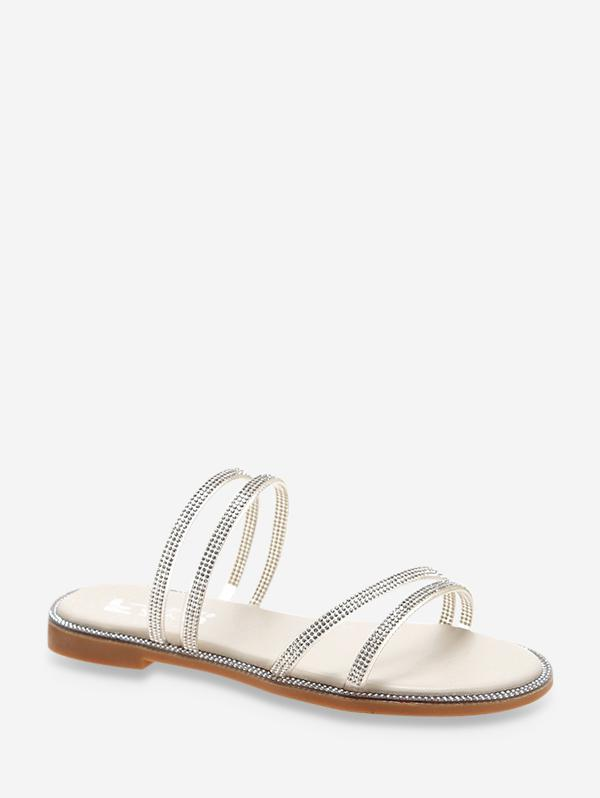 Rhinestone Convertible Strap Flat Sandals