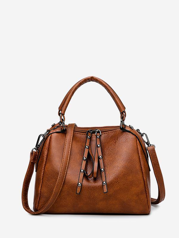 Rivet Retro Double Zipper Shoulder Handbag