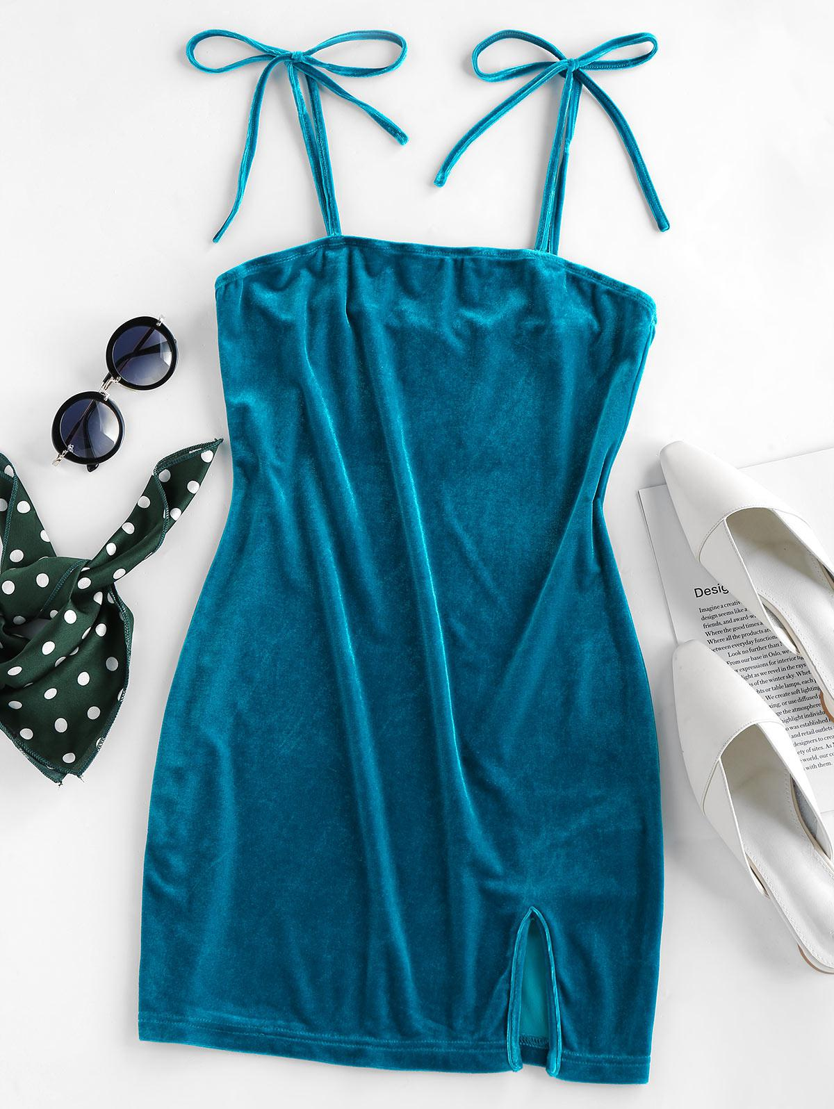 ZAFUL Velvet Tie Shoulder Slit Bodycon Dress
