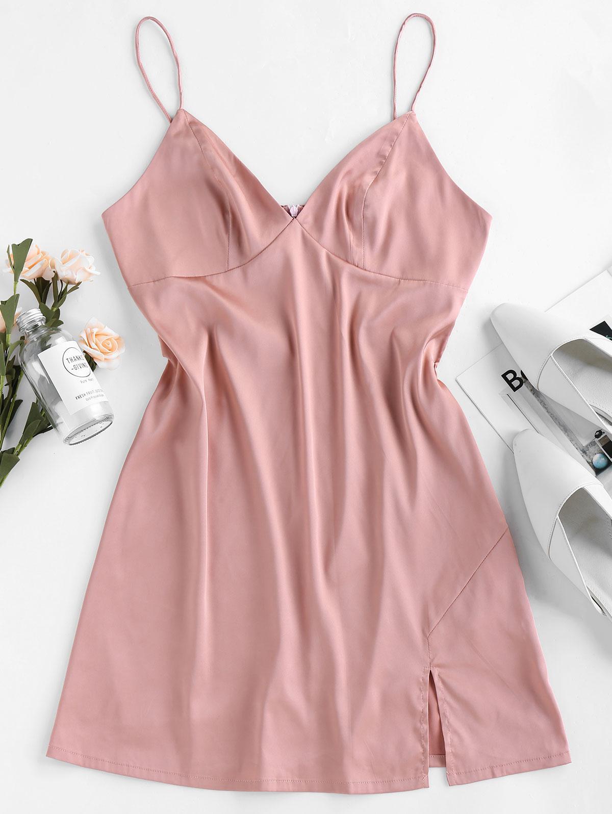 ZAFUL Satin Slit Mini Cami Dress