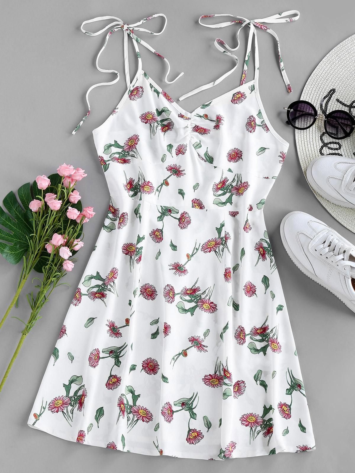 ZAFUL Floral Tie Shoulder Cami Summer Dress