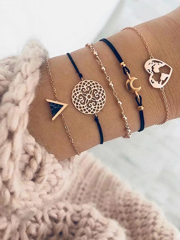 Map Heart Crescent Geometric Shape Bracelets Set