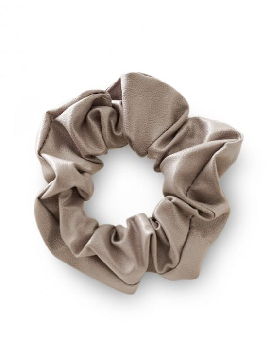 online PU Leather Solid Color Scrunchie - GRAY